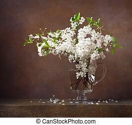 生活, 水差し, 花束, サクランボのガラス, 花, まだ