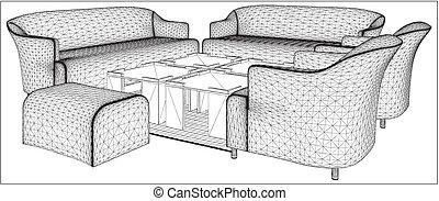 生活, 现代的房间, 家具