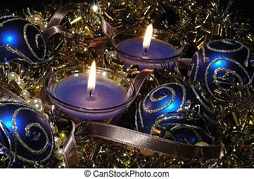 生活, 球, 耀眼, 蜡燭, 仍然, 聖誕節