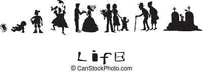 生活, 生まれる, へ, 死