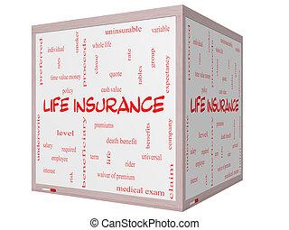 生活, 立方体, 単語, whiteboard, 概念, 保険, 雲, 3d