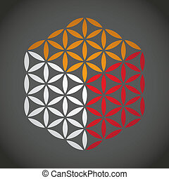 生活, 花, 色, シンボル, -, イラスト, 立方体