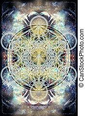 生活, 花, geometry., 色, ライト, 抽象的, merkaba, バックグラウンド。, 神聖