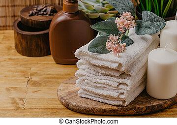 生活, 花, imag, towel., -, 蝋燭, 芳香がする, エステ, まだ