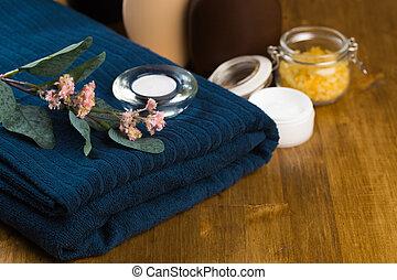 生活, 花, image., towel., -, 蝋燭, 芳香がする, エステ, まだ