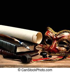 生活, 芸術, 木製である, 平机の上に, 古い, まだ