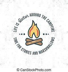 生活, 要素, のまわり, キャンプ, プリント, テキスト, 旅行, -, bonfire., ティー, よりよい,...