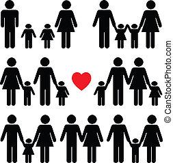 生活, 黒, セット, アイコン, 家族