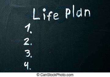 生活, blackboard., チョーク, 書かれた, 計画, 句