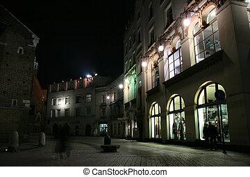 生活, krakow, 夜