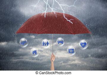 生活, umbrella., 家族, concept., 手の保護, 健康, 保有物, 戦略, 保険, 赤