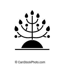 生物学, 描述, 隔离, -, 植物征候, 矢量, 黑色的背景, 图标