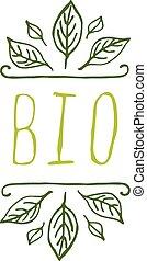 生物, 產品,  -, 標簽, 背景, 白色