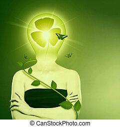 生物, 能量, 同时,, eco, 保护, concept., 女性, 摘要, 肖像