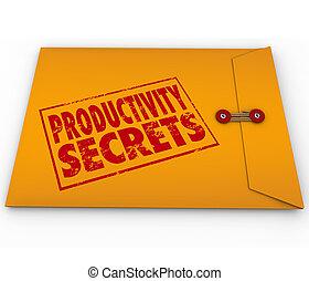 生産性, 助け, 秘密, アドバイス, 封筒, 黄色, 先端