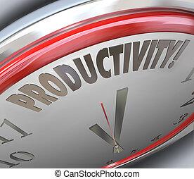 生産性, 効率, さらに少なく, 増加, tim, される, 出力, 時計, もっと