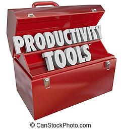 生産性, 道具, 言葉, 中に, a, 赤, 金属の道具箱, へ, 例証しなさい, 技能, そして, 知識, 学ぶため,...