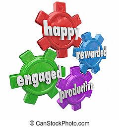 生産的である, 効率的である, かみ合った, 労働力, qualities, rewarded, 幸せ