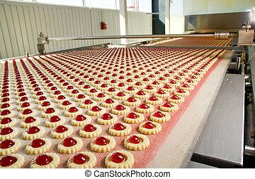 生産, クッキー, 中に, 工場