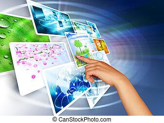 生産, テレビ, 概念, 技術, インターネット