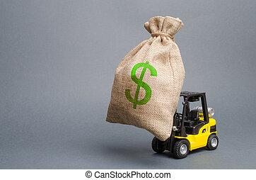 生産, 近代化, 届く, トラック, projects., ビジネス, 投資, フォークリフト, liquidity., 開発, お金。, 販売, 袋, 下部組織, 黄色, 収入, 利益, 引き付けること, 大きい