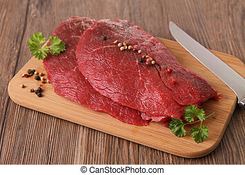 生的肉, 牛肉