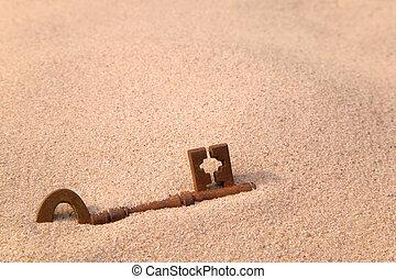 生鏽, 老, 在中的鑰匙, 沙子