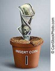 生長, 投資, 概念, 錢, 成長, 在, 罐