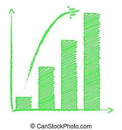 生長, 條形圖, 由于, 箭