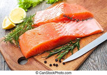生魚, 三文魚, 肉片, 藥草, 新鮮