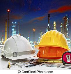 産業, に対して, 仕事, 石油精製所, f, テーブル, エンジニア, 使用, 植物