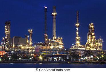 産業, に対して, 重い, 石油精製所, 照明, 財産, 植物
