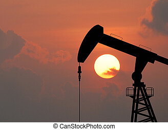 産業, エネルギー, 石油, 機械, ポンプ, オイル, デザイン, 背景, 用具一式, 日没