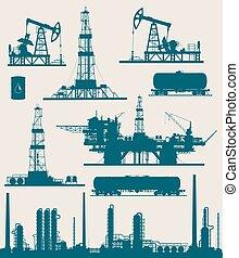 産業, オイル, ガス, セット