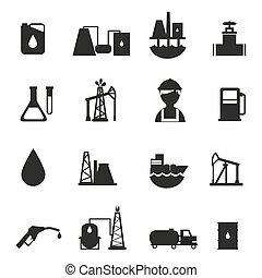 産業, オイル, セット, アイコン