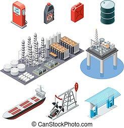 産業, オイル, セット, 等大, アイコン