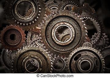 産業, グランジ, 科学, ギヤ, background.., メカニズム, コグ, 車輪