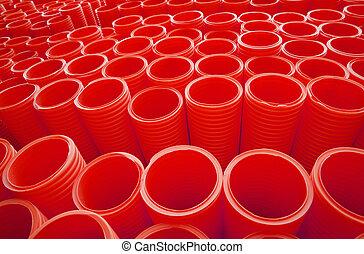 産業, グループ, パイプ, プラスチック, 大きい, フルのフレーム, 赤