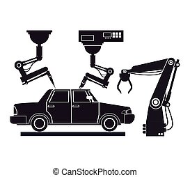 産業, シルエット, 車の生産, ロボティック, 一貫作業