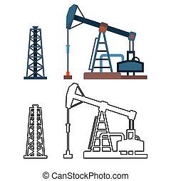 産業, セット, オイル, 装置, ポンプ, ベクトル, 用具一式, 引かれる