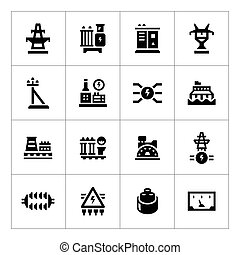 産業, セット, 力, アイコン