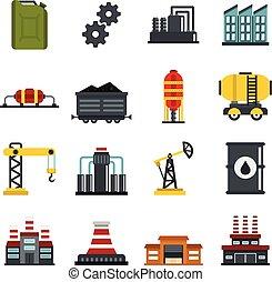 産業, セット, 平ら, アイコン