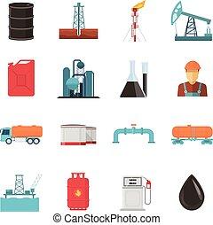 産業, セット, 石油, アイコン