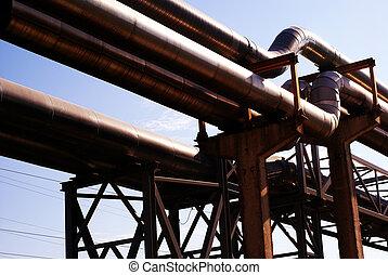 産業, パイプライン, 上に, pipe-bridge, に対して, 青い空