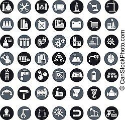 産業, ベクトル, セット, 工場, アイコン