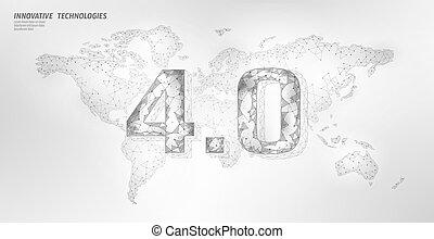 産業, 世界的である, poly, 革命, 人間, 技術, management., concept., システム,...