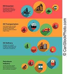 産業, 交通機関, 処理, petrolium, 生産, オイル, ベクトル