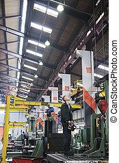 産業, 労働者, 人々が中にいる, 工場