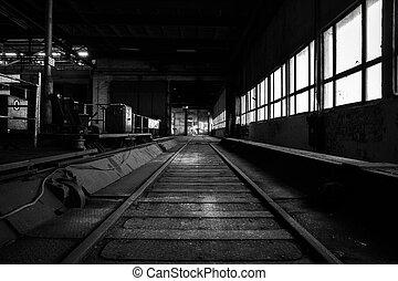 産業, 古い, 捨てられた, ライト, 明るい, 内部