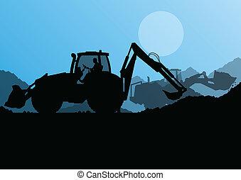 産業, 堀る, 掘削機, 機械, 労働者, サイト, イラスト, トラクター, ベクトル, 山, 水力である, 背景, 建設, ローダー, ボーリングする